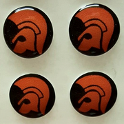 Trojan Head Orange and Black Background Hankie Pin 10mm